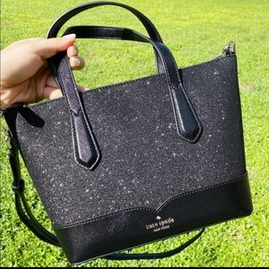 Kate Spade Glitter Satchel Crossbody Bag Black